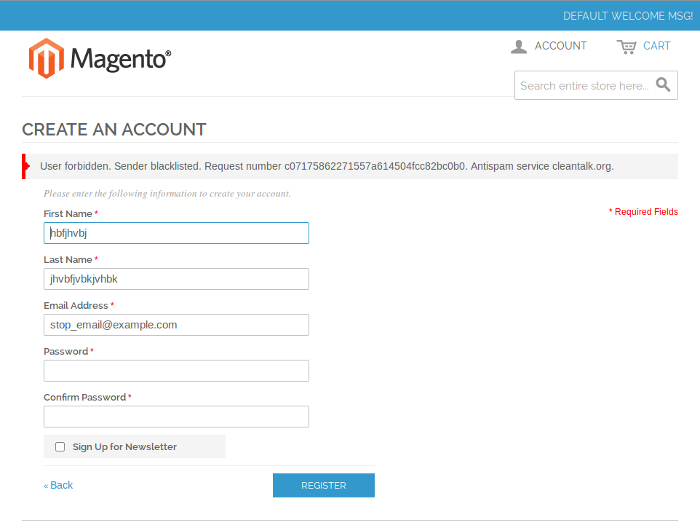 Magento account creation